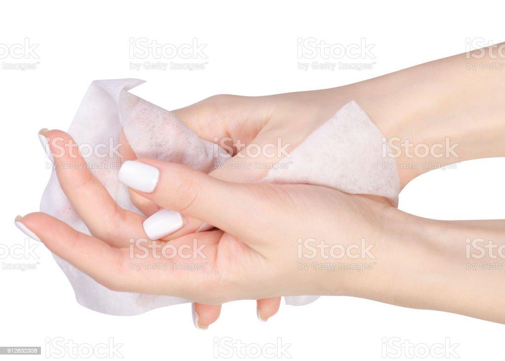 Female hand wet wipe stock photo