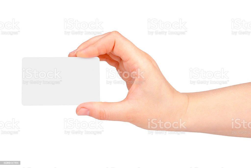 Female hand with a blank card isolated on white stock photo
