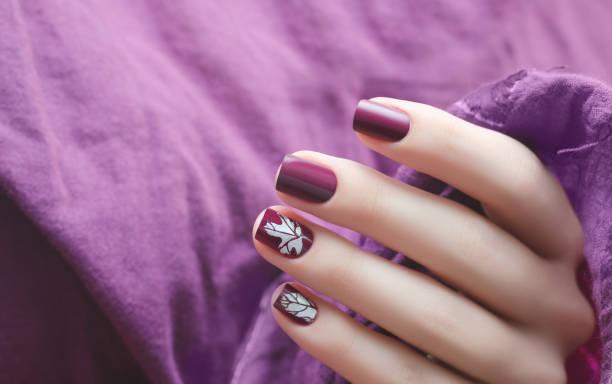 weibliche hand mit dunkelviolettem nageldesign. - herbst nagellack stock-fotos und bilder