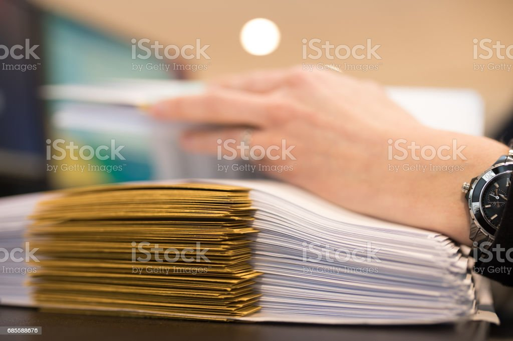 Female hand with files or dossiers royalty-free 스톡 사진
