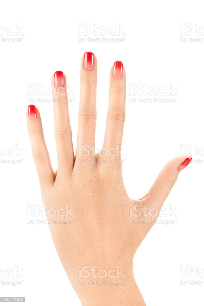 Female Hand With Ombre Nail Design On White Background Stock Photo