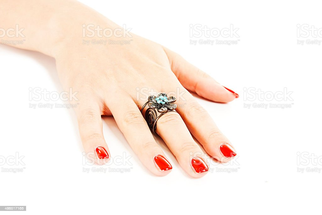 Female Hand With Red Nails With Ring Stock Photo & More Pictures of ...