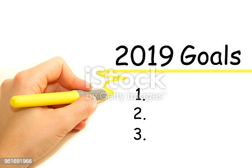 Female Hand Writing 2019 Goals Stock Photo & More Pictures Of 2019