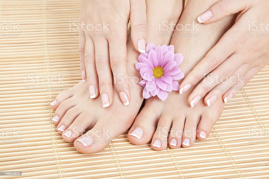 Female hands and feet with manicured nails and lotus flower royalty-free stock photo