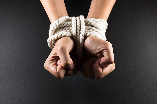female hands bound in bondage with rope - tangled stock photos and pictures
