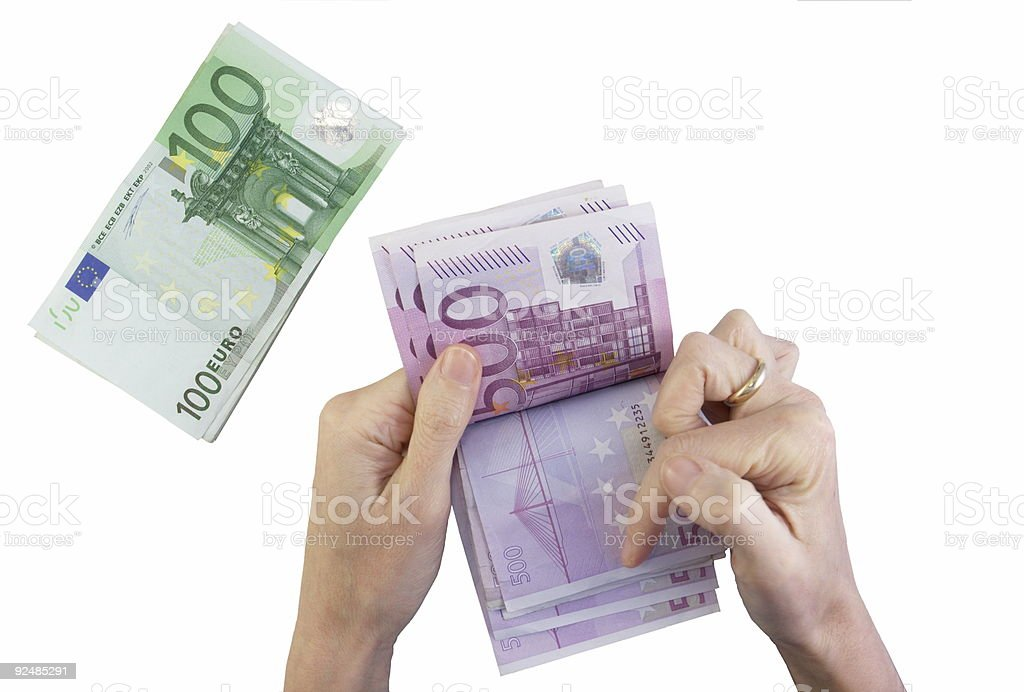 Female hands counting Euros royalty-free stock photo