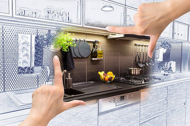 weibliche hände, die rahmung individueller küchen-design. - küche neu gestalten ideen stock-fotos und bilder