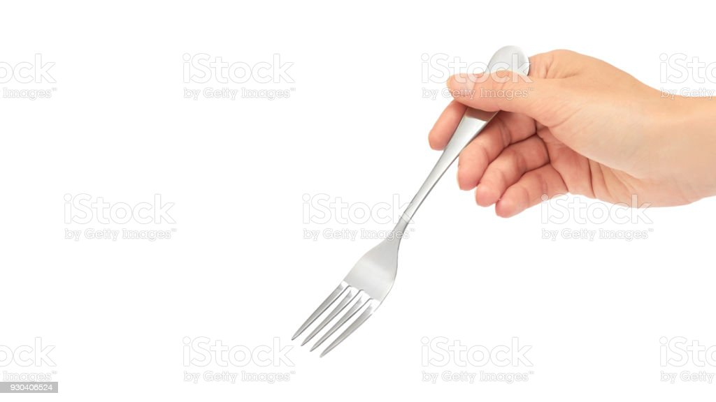 Female hands hold a fork. Isolated on white background. copy space, template stock photo