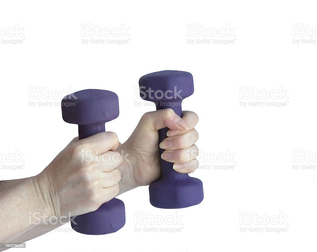 female hands hold dumbbells royalty-free stock photo