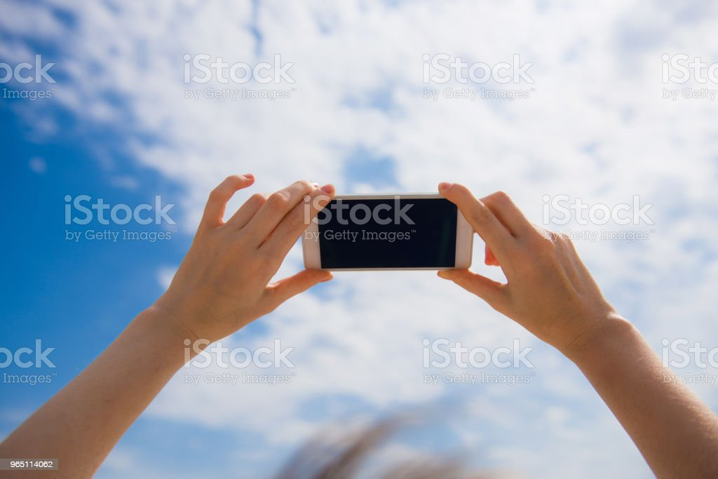Female hands hold mobile phone zbiór zdjęć royalty-free