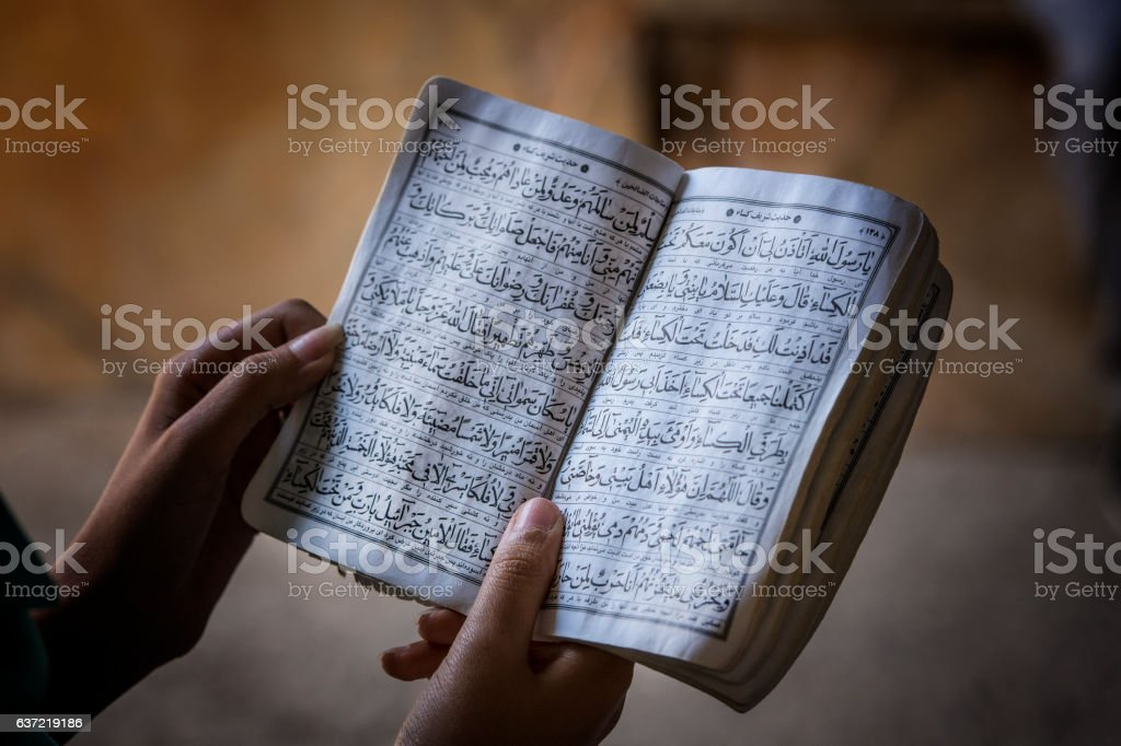 Female hands holding a koran book stock photo