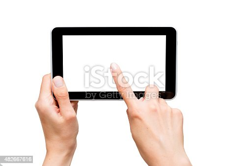 899410700 istock photo female hands holding a tablet 482667616