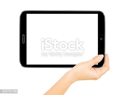 899410700 istock photo female hands holding a tablet touch computer gadget 520752799