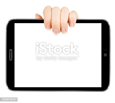 932821906 istock photo female hands holding a tablet touch computer gadget 520978407