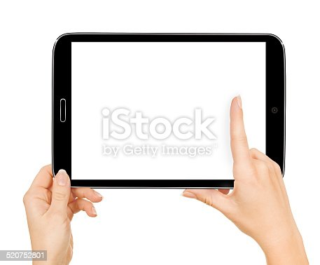 932821906 istock photo female hands holding a tablet touch computer gadget with 520752801
