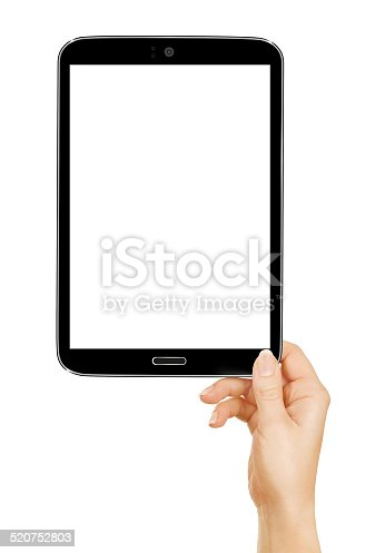 932821906 istock photo female hands holding a tablet touch computer gadget with 520752803