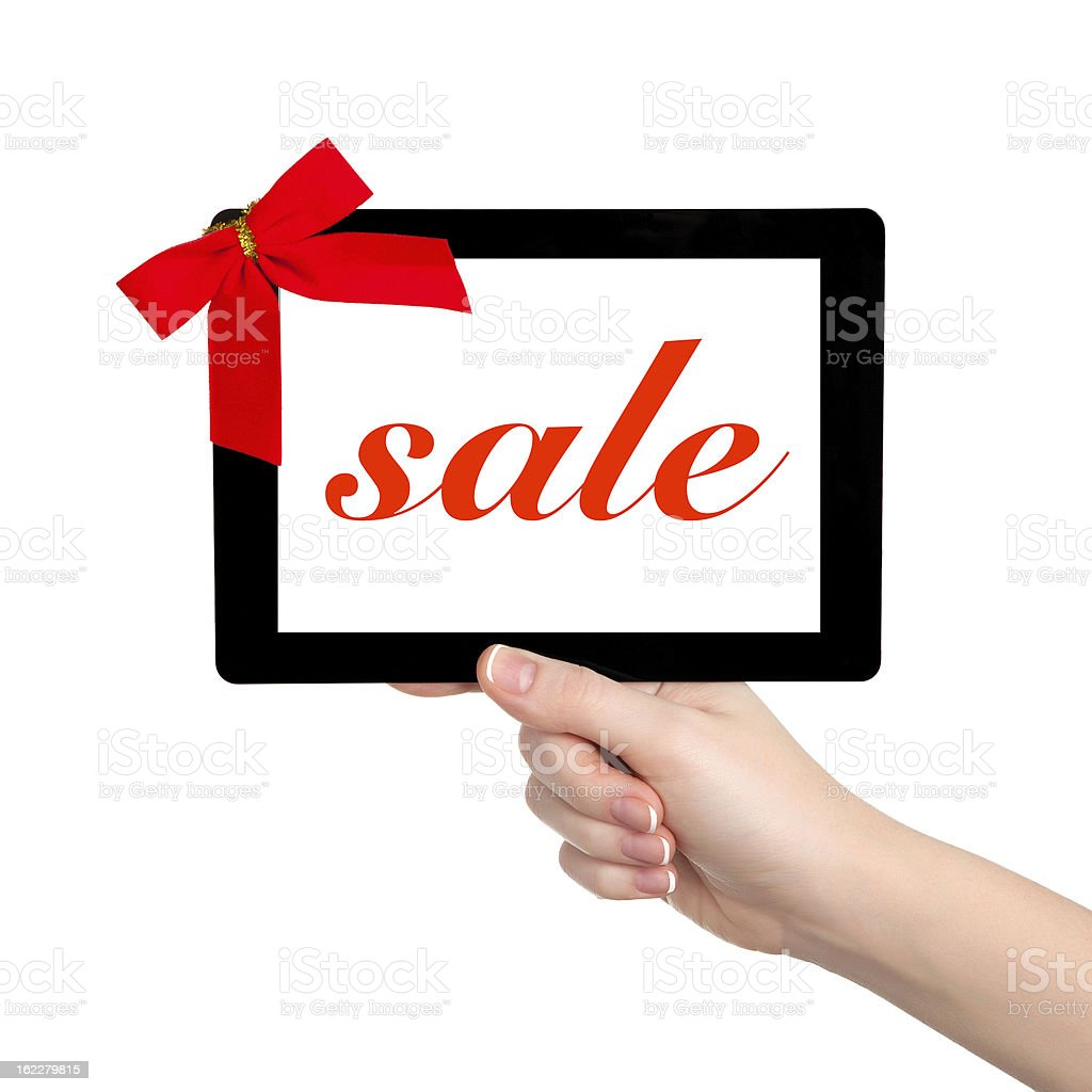 female hands holding a tablet with isolated screen royalty-free stock photo