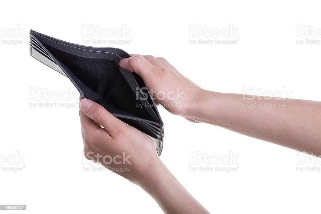 Weibliche Hand Holding leere Brieftasche auf weißem Hintergrund – Foto