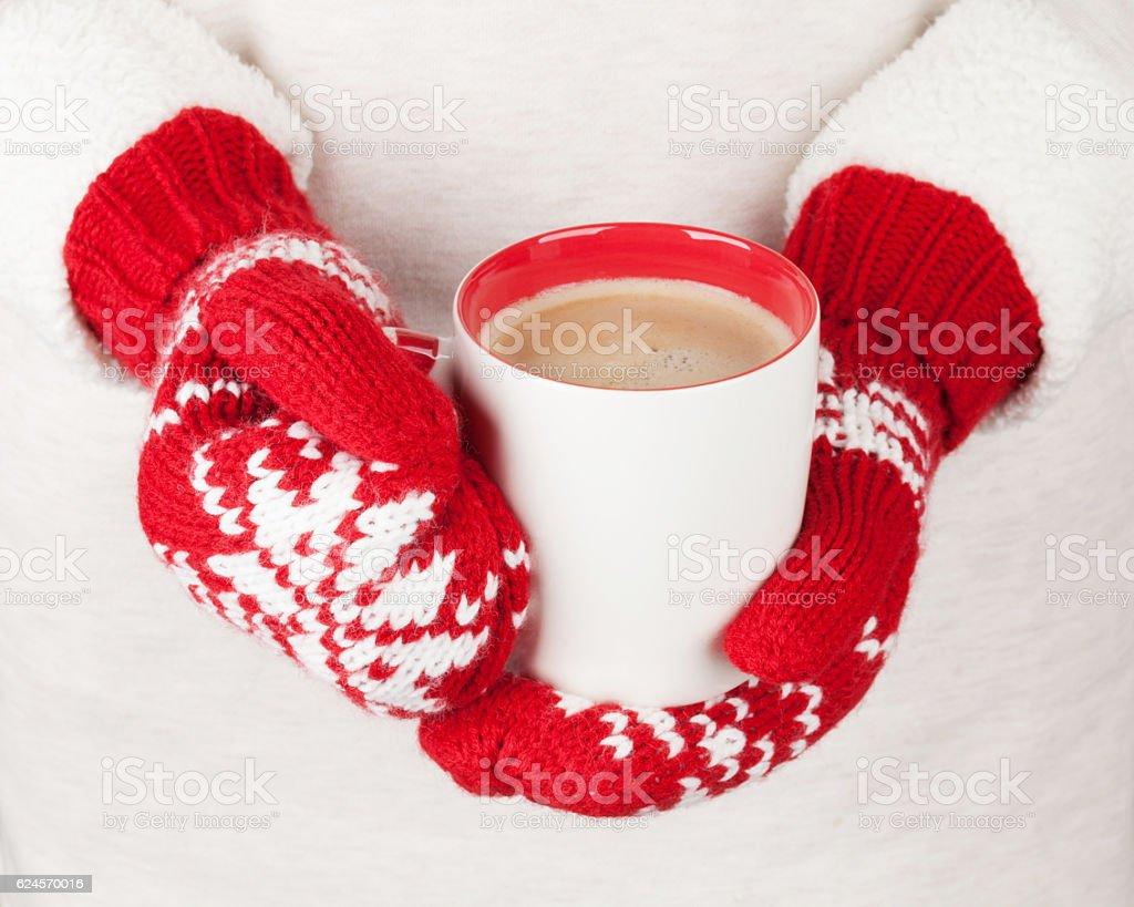 Female hands holding hot chocolate stock photo