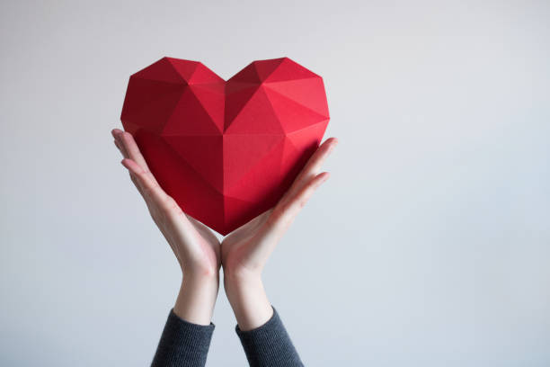 Female hands holding red polygonal heart shape Two female hands holding red polygonal paper heart shape passion stock pictures, royalty-free photos & images