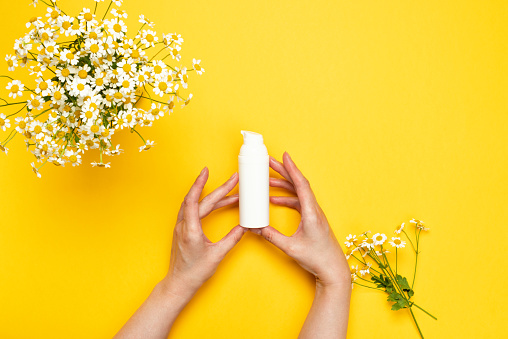 1151624350 istock photo Female hands holds a bottle of essence or serum with chamomile 1253868830