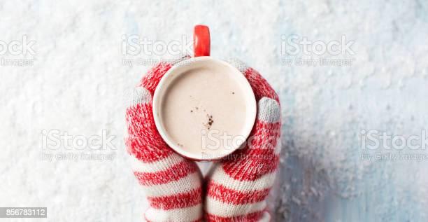 Female Hands In Gloves Holding Hot Chocolate - Fotografias de stock e mais imagens de Acima