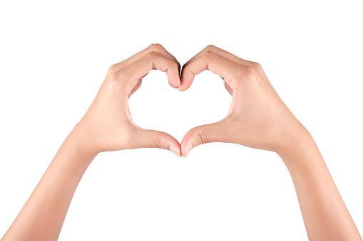 Heart Gesture on white background