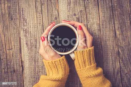 istock Female hands in warm sweater holding cup of coffee 868707272