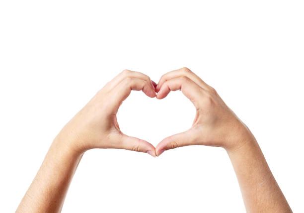 Female hands make heart shape against white stock photo