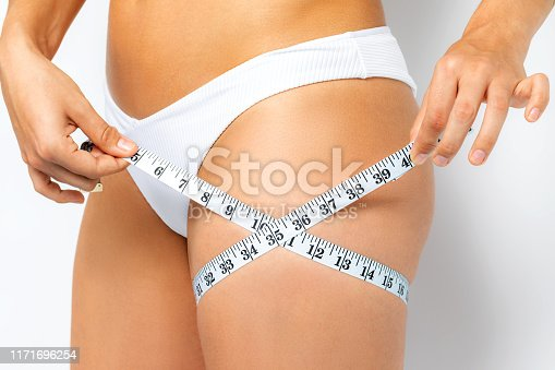 Close up detail of female hands measuring upper thigh with mesure band. Isolated on white background.