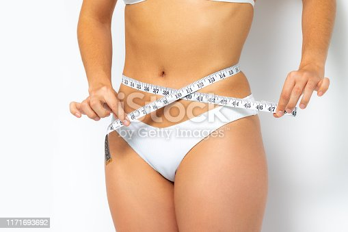 988581210 istock photo Female hands measuring waist with measure band. 1171693692