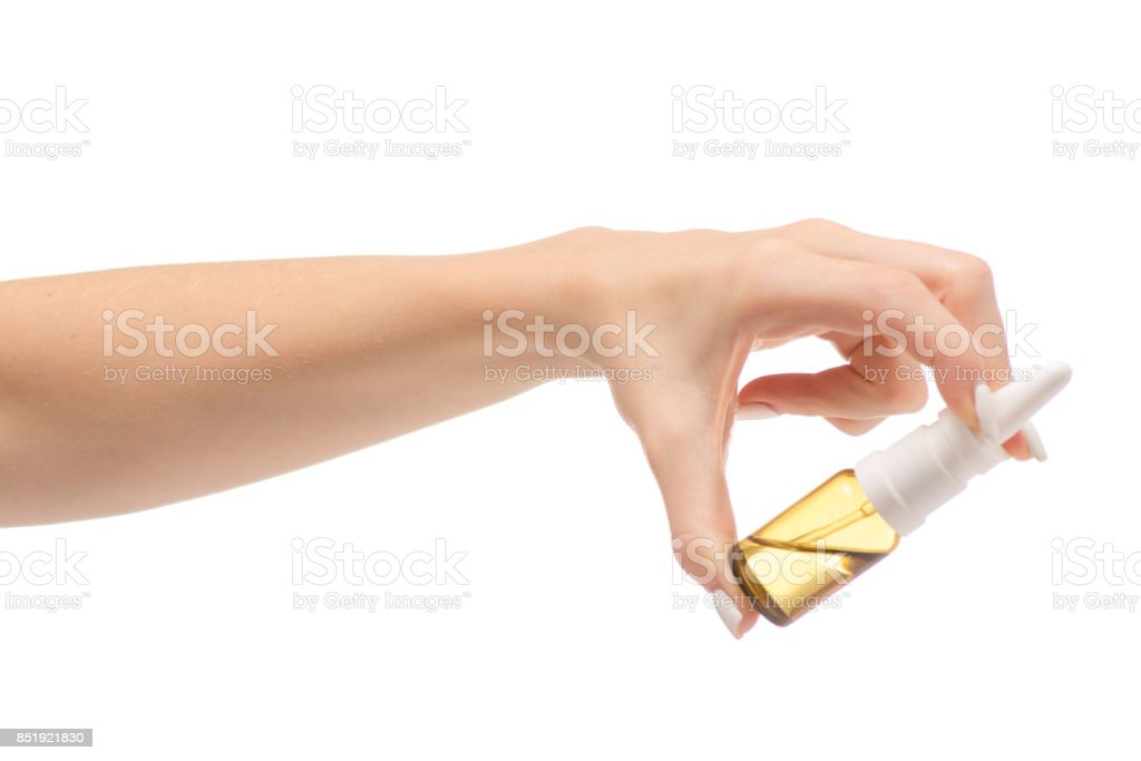 Female hands medicine nose spray stock photo