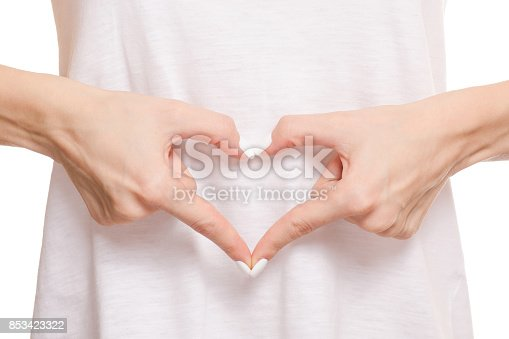521792753istockphoto Female hands on a belly heart 853423322