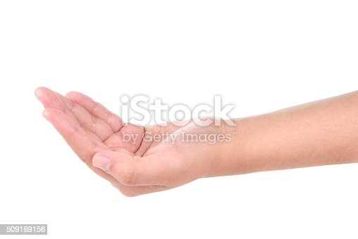 istock Female hands on white background 509169156
