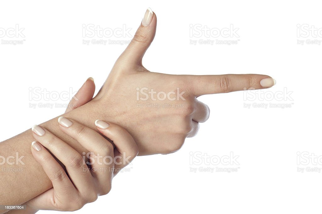 Female hands pretending to shoot stock photo