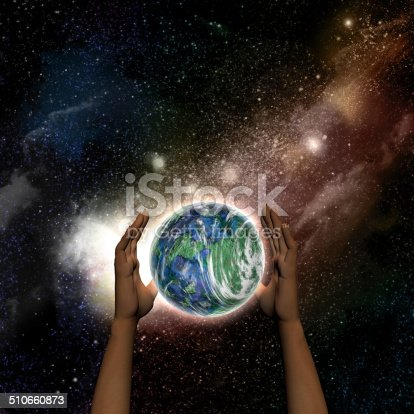 Abstract space background with female hands protecting a fictional Earth