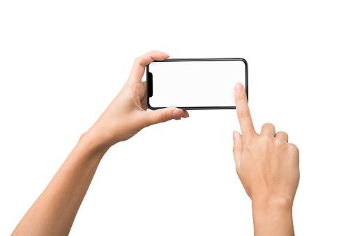 1084491176 istock photo Female hands taking photo on smartphone with blank screen 1087270372