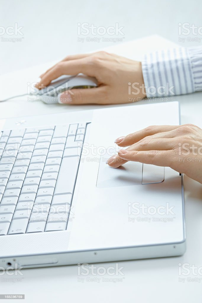 Female hands using laptop royalty-free stock photo