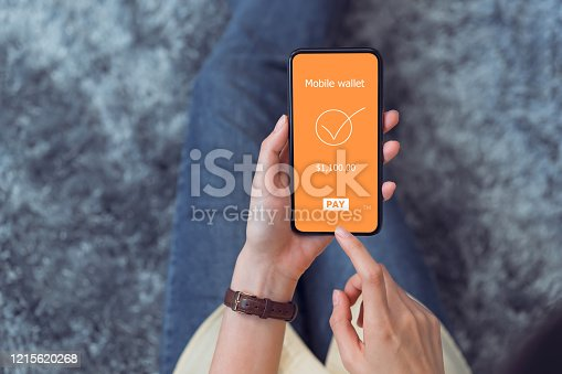 Female hands using smartphone with payment mobile banking online.