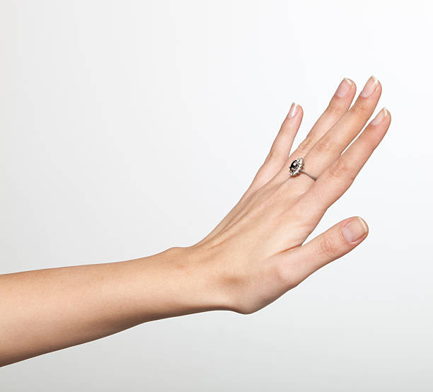 female hands with beatiful ring stock photo