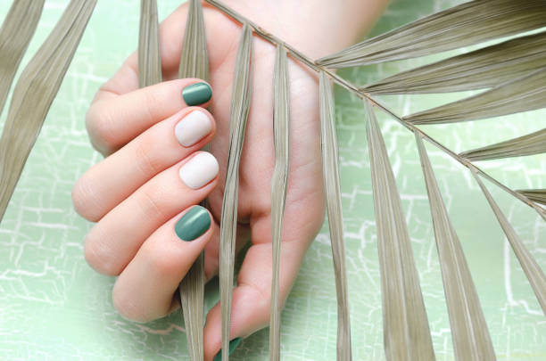Female hands with green nail design stock photo