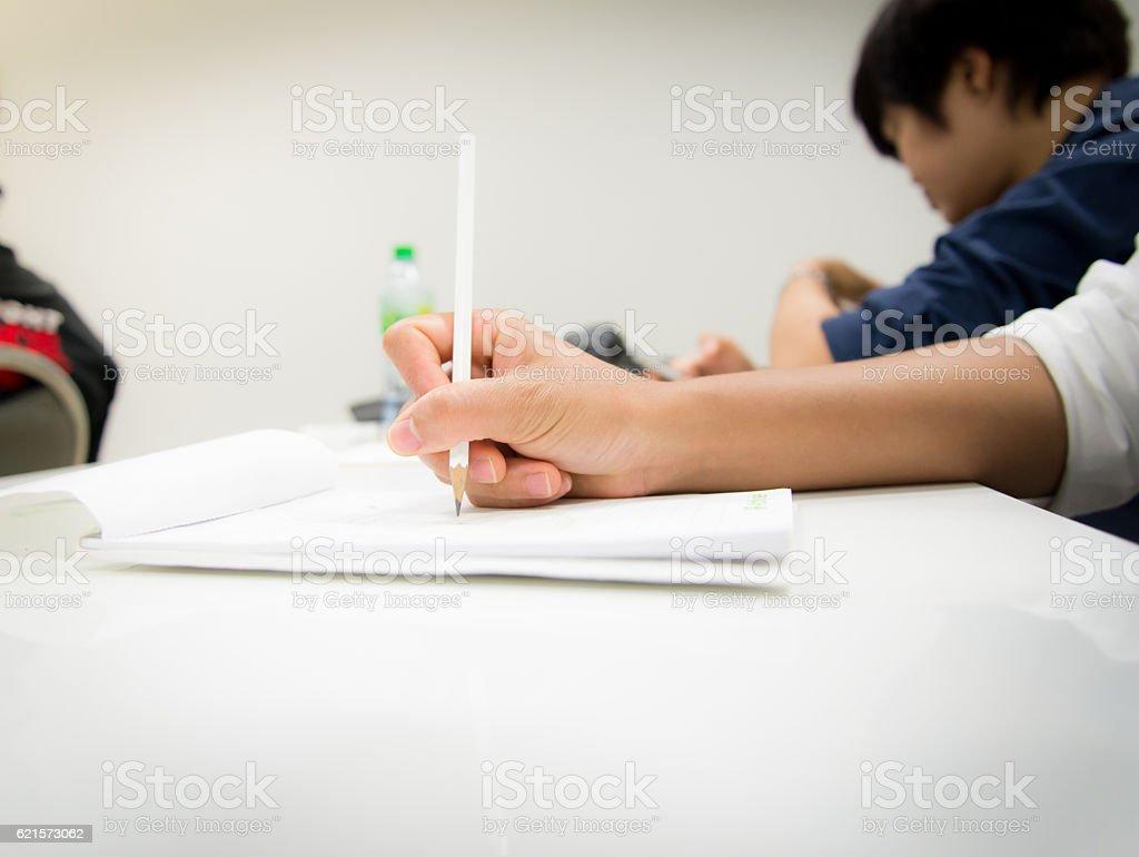 Mains de femme avec un crayon écriture sur ordinateur portable photo libre de droits