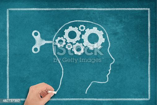 istock Female Head Shape on blue Blackboard 482737352