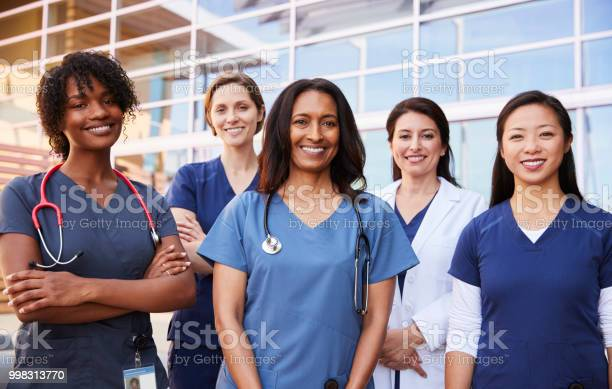 Female healthcare colleagues standing outside hospital picture id998313770?b=1&k=6&m=998313770&s=612x612&h=dkxdeu2kmjgysjvyblkfrxvm2saq9gho0k53p1 8cko=