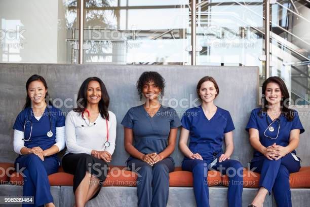Female healthcare workers sitting together in a hospital picture id998339464?b=1&k=6&m=998339464&s=612x612&h=t59avcyfhxz4wkgjuy7nivh6bggubtnxfto3m93jesw=