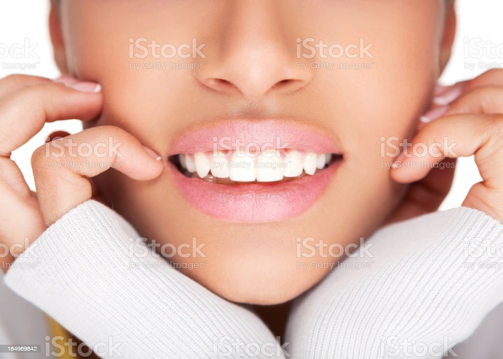 Female healthy white toothy smile Close up of female perfectly white healthy smile. Adult Stock Photo