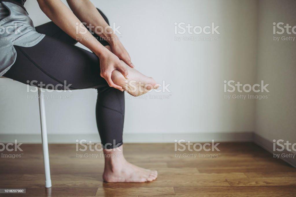 Female heel pain stock photo