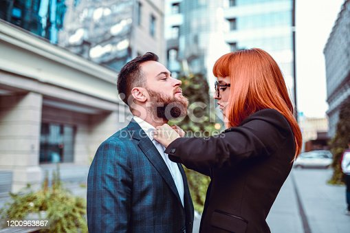 Female Helping Her Businessman Husband With His Tie