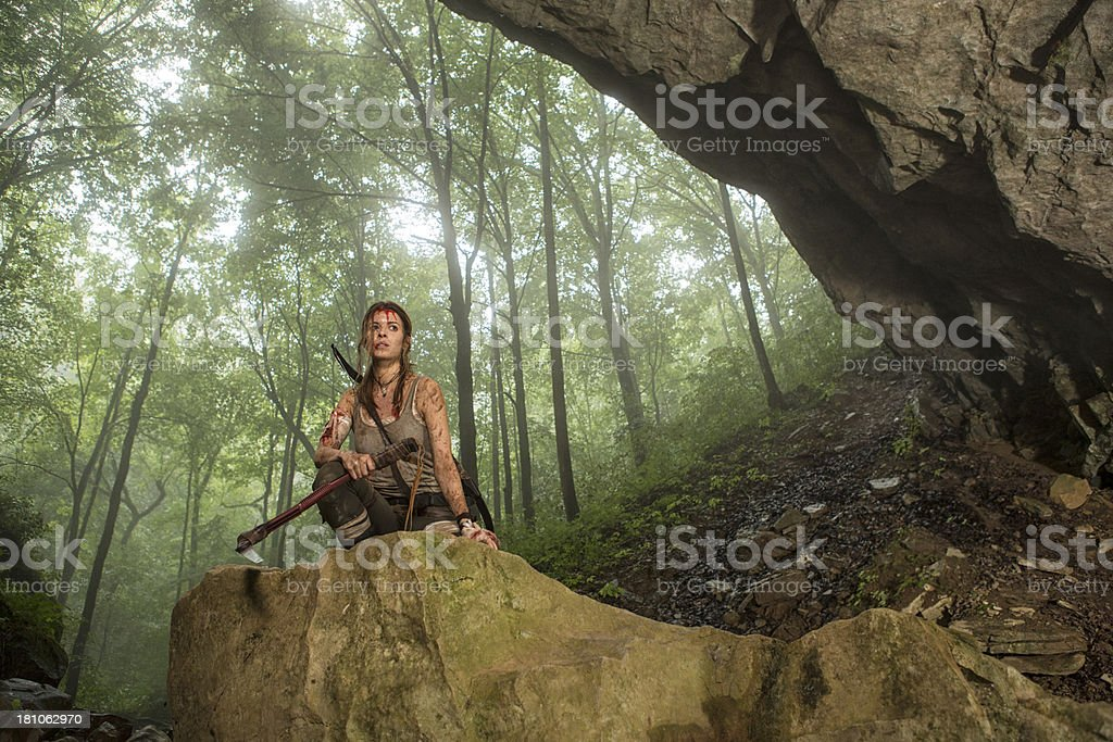 Female Heroine In Cave Entrance Holding Torch Stock Photo Download Image Now Istock
