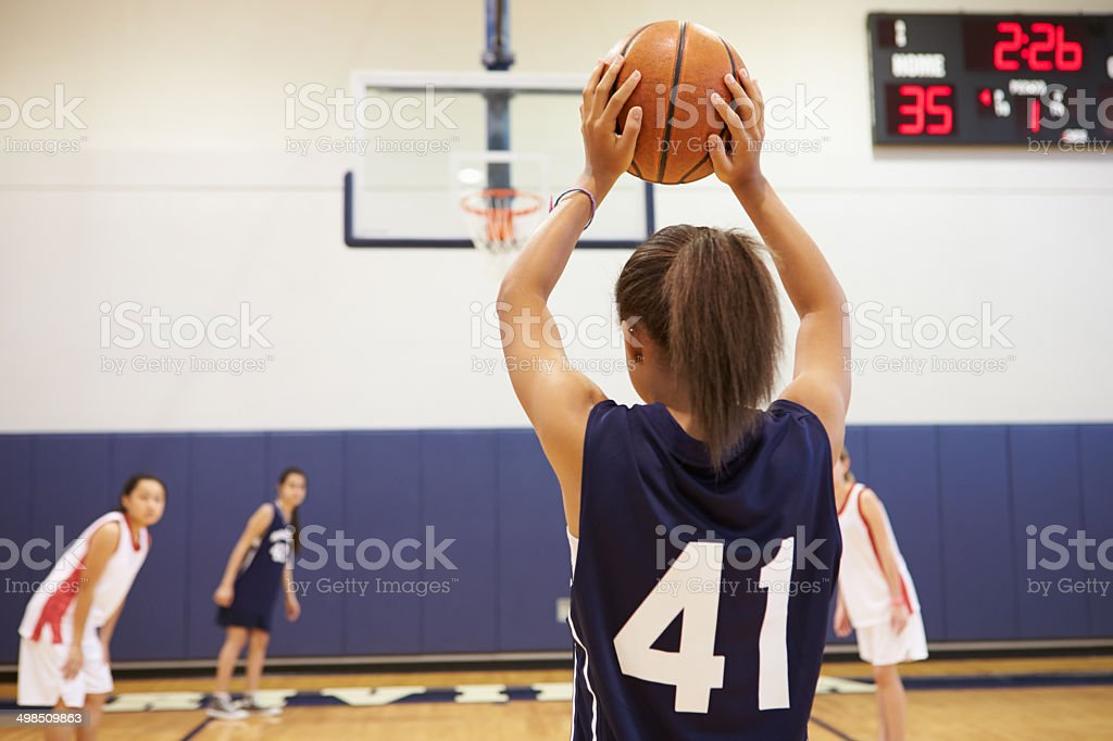 Female High School Basketball Player Shooting Basket stock photo